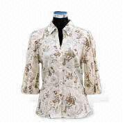 Women's shirts,printed fabric With chest pocket, satin belt and short sleeves