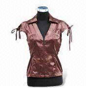 Women's blouses Material satin With short sleeves and V shaped collar